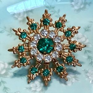 Vintage Brooch Pin Starburst Green Gold
